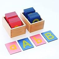 LEADER JOY Montessori Lower Case Sandpaper Tactile Alphabet Letters w/ Box