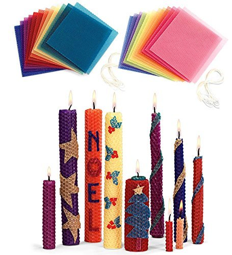 Magic Cabin Beeswax Candle Rolling Kit with Decorating Ideas, in Bright Colors
