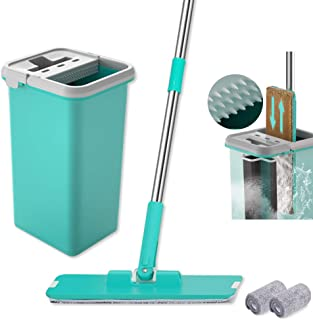 Microfiber Flat Squeeze Mop and Bucket for Floor Cleaning 360 Rotated Head Small Self-Wringing Mop Bucket System with 2 Reusable Mop Pads
