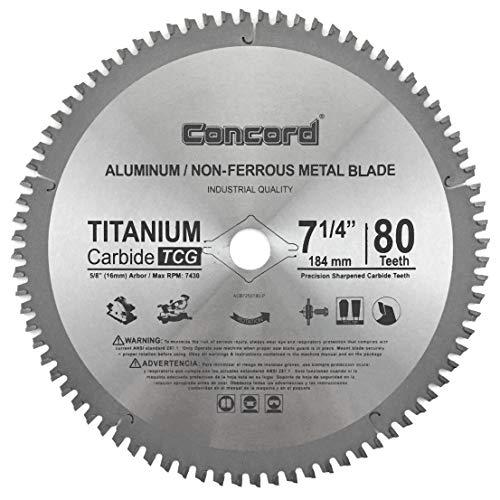 Concord Blades ACB0725T080HP 7-1/4″ 80 Teeth TCT Non-Ferrous Metal Saw Blade