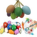 N\C Oeufs de Pâques Multicolores, Pâques Oeuf de Pâques Suspendus Pendentif Ornements Bricolage Peinture Oeufs pour Pâques Fête Faveurs Cadeaux avec Lanière (12 Couleur Aléatoire) …