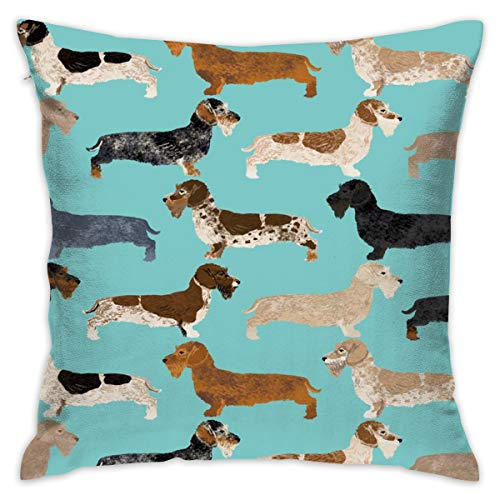 Mabell Beautifully Decorated Home Wire Haired Dachshunds Dogs Pet Dog Cute Wild Boar Dachshunds Blue Dachshunds Colors Throw Pillow Case 18X18 Inches
