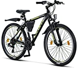 Licorne Bike Vélo VTT haut de gamme, pour filles, garçons, hommes et femmes, avec dérailleur Shimano à 21vitesses, noir/citron vert, 26 pouces