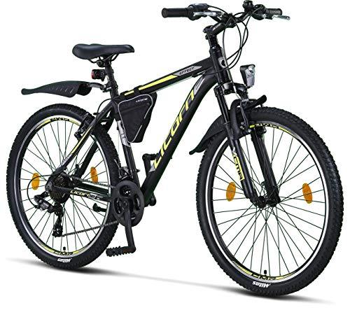 Licorne Bike Effect Premium Mountainbike in 26 Zoll Aluminium, Fahrrad für Jungen, Mädchen, Herren und Damen - 21 Gang-Schaltung - Herrenrad - Schwarz/Lime