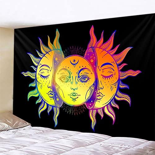 PPOU Tapiz de Luna en Blanco y Negro Mandala Colgante de Pared Hippie Manta para el hogar Mandala Fondo de Tela Manta Tela para Colgar A4 100x150cm