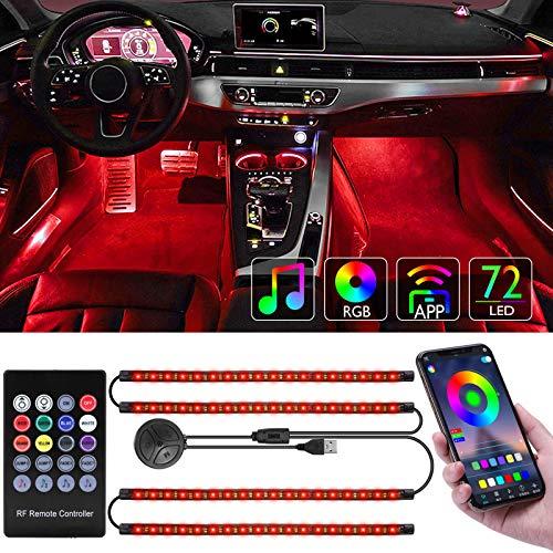 Tavaler Auto LED Innenbeleuchtung 4pcs 72 LED Ambientebeleuchtung Auto Lichtleiste USB Anschluss Innenraumbeleuchtung Auto Strip mit APP-Steuerung und Fernsteuerung
