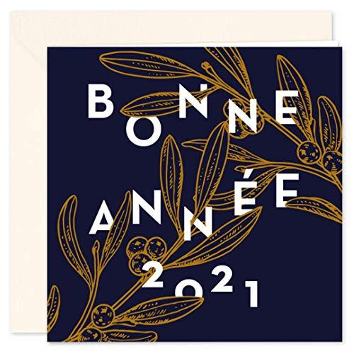 Carte de voeux 2021 • Gui Porte Bonheur • Lot de 16 Cartes • Papier haut de gamme • 16 Enveloppes Ivoires • 14x14 cm Pliée • Idéal pour souhaiter la Bonne Année • Popcarte
