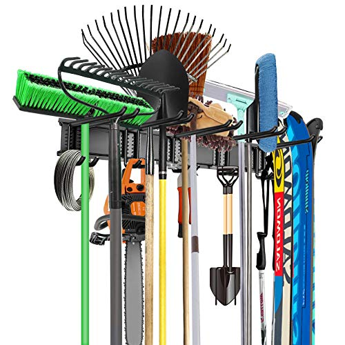 WALMANN Wall Mounted Tool Organizer, Ski Wall Rack, Garage Storage Rack, Heavy Duty Garden Tool Storage Organization System, Holds Up to 300lbs
