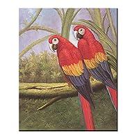 動物オウムの木の風景ポスター絵画キャンバス壁アートリビングルームの装飾写真プリントキャンバス-50x70CMフレームレス