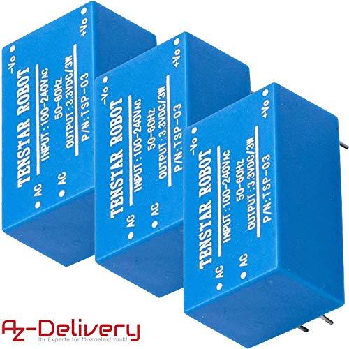 AZDelivery 3 x 220V zu 3,3V Mini-Netzteil kompatibel mit Arduino und Raspberry Pi inklusive E-Book!