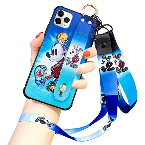 DISNEY COLLECTION iPhone 11 Pro Max Case, Mickey Mouse Street Fashion Wrist Strap Band Protector Phone Cover Full-Body Bumper Lanyard Case for iPhone 11 PRO MAX 6.5 Inch 2019