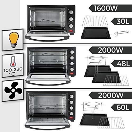JJago® Minibackofen mit Umluft - Modellauswahl, 100 bis 230°C, Timer (0-60 Min), mit Drahtgitter, Backblech & Zubehör, Schwarz - Mini Backofen, Mini-Küche, Grillofen, Pizza-Ofen