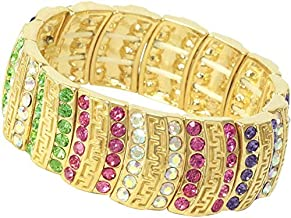 Crystal Asfour Metal and Crystal Bracelet - Multicolor