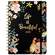 """2020 Planner - Weekly & Monthly Planner with Tabs, Floral Cover with Twin-Wire Binding, 6.30"""" x 8.45"""", Banded + Inner Pocket"""