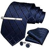 DiBanGu Formal Navy Blue Plaid Necktie and Tie Clip Set Silk Mens Gift