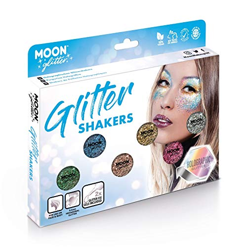 Holographic Glitter Shakers par Moon Glitter - 100% cosmétiques paillettes pour le visage, le corps, les ongles, les cheveux et les lèvres - 5g - Cofrett