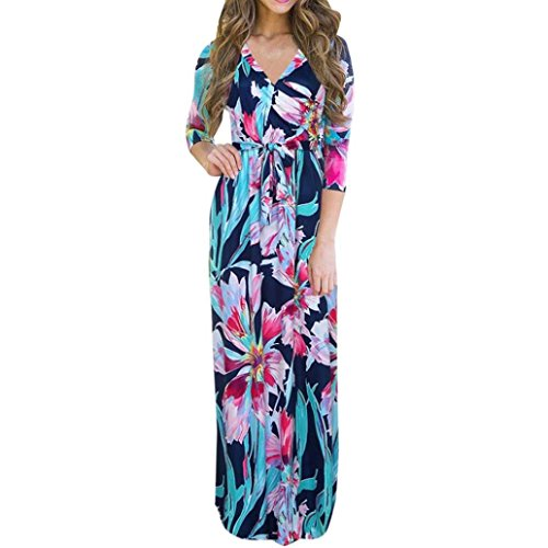 Hirolan Frau V-Ausschnitt Boho Lange Maxi Kleid Blumen Kleid (Blau, XL)