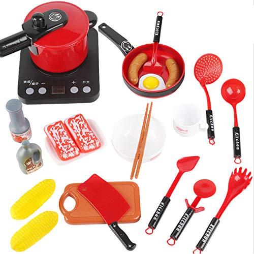 Juguetes para niños Cocina de 24 Piezas de Cocina de Juguete Set Pretend niños Cocina Cocinar Cosplay Set con Smart Sound Simulación de Inducción Olla de presión para la Infancia (sin baterías),Rojo