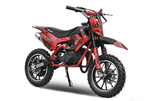 Dirtbike Serval 49cc Cross Bike Pocket Bike Pocket Quad Drossel Kinderfahrzeu (rojo)