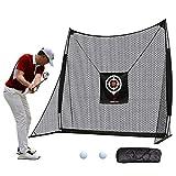 FRANKTECH Golf Net Golf Hitting Net for Backyard Driving Range Training Aids Practice Net Bundle with Chipping Hitting Target Carry Bag Practice Golfing Indoor (8.2' x 8.2' Net)