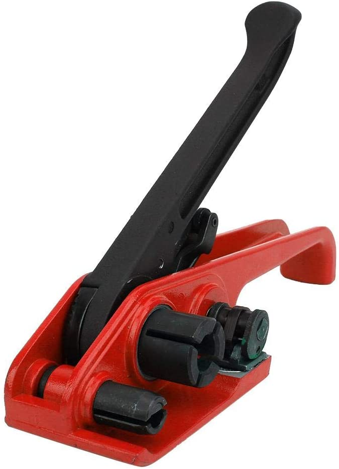 Tensor manual de fleje de cinta M/áquina de flejado de alicates de embalaje Herramienta de combinaci/ón de sellado Herramienta de encuadernaci/ón Cortador de flejado para cinta PET//PP de 16~19 mm rojo