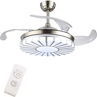 Candelabro LED con ventiladores de techo invisibles modernos, iluminación tricolor ajustable de 42 pulgadas y luz de ventilador de techo de tres etapas, candelabro de sala de estar