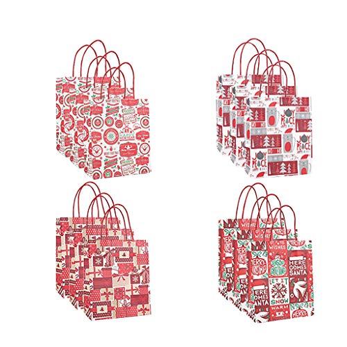 CMOM Weihnachten Deko, Tasche Papiertüte Verpackung Kraftpapier Unten Einkaufstasche 12 stück Weihnachtsbaum Tischdekoration Fensterbilder Basteln Weihnachten Basteln Kinder