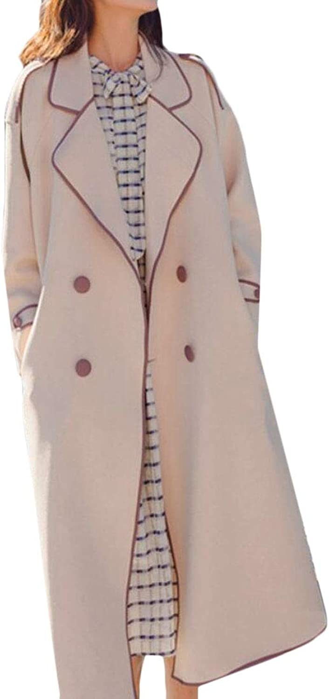 Jotebriyo Women Belted Fashion Lapel Double Breasted Mid Long Trenchcoat Jacket Coat