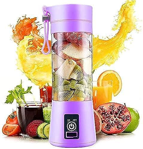 RINEZA Portable Electric USB Juice Maker Juicer Bottle Blender Grinder Mixer 6 Blades Rechargeable Bottle with Multi color