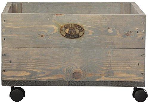 Esschert Design Pflanzkasten auf Rollen, 39 x 39 x 25 cm, aus Holz, Größe S, mit 4 Kunststoffrollen, Holzkiste, Holzbox, Aufbewahrungsbox