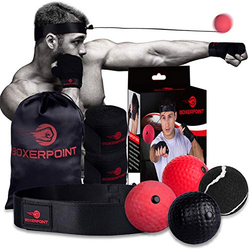 Boxing Reflex Ball for Adults and Kids - React Reflex Balls on String with Headband, Carry Bag and Hand Wraps - Improve Hand Eye Coordination, Punching Speed, Fight Reaction (4 Difficulty Level Balls)