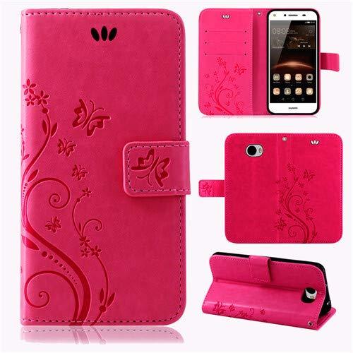 betterfon Flower Hülle Handytasche Schutzhülle Blumen Klapptasche Handyhülle Handy Schale für Huawei Y5 II/Huawei Y6-2 Compact Pink