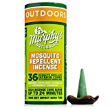 Murphy's Naturals Mosquito Repellent Incense Cones | DEET Free with Plant Based Essential Oils | 24 Minute Protection | Ceramic Dish Included | 36 Cones