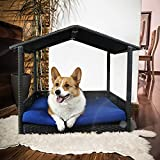 Leaptime Pet Playpens Black PE Wicker Outdoor Indoor Dog Sofa Royal Blue Cushion Rabbit Bed Patio Cat Chair Outdoor Wicker Dog Bed Canopy Dog Playpen