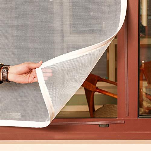 GettyGears - Cortina de malla magnética en fibra de vidrio con imanes para ventana, 3tiras magnéticas adhesivas, sin perforación, ignífuga