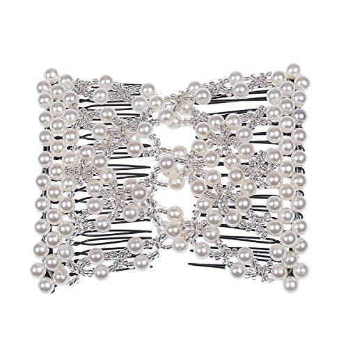 Casualfashion Delicate Women Girls Easy Stretch Pearls Combs Beaded Hair Comb Jewelry Double Clips (White)
