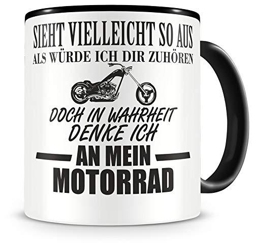 Samunshi® Ich denke an mein Motorrad Chopper Tasse Kaffeetasse Teetasse Kaffeepott Kaffeebecher Becher Chopper 300ml schwarz