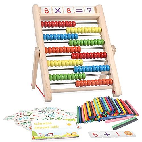 Funmo Mathe Spielzeug, Montessori Spielzeug, Rechenschieber Rechenrahmen Kinder, Abakus Rechenschieber mit 100 Holzperlen Kinderspielzeug Motorikspielzeug, Pädagogisches Mathe-Spielzeug für Kinder
