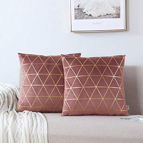 NordECO HOME Pack of 2 Throw Pillow Covers Cases - Square Decorative Cushion Covers for Sofa Couch Bed Home Decoration, 20 x 20, Mauve