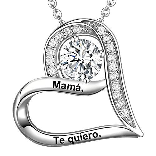 LOVORDS Collar Mujer Grabado Plata de Ley 925 Colgante Corazón Regalo Madre Mamá