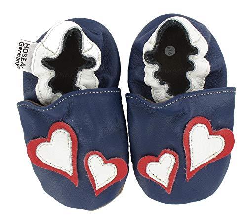 HOBEA-Germany Chaussures bébé Fille, Chaussures de Taille:16/17 (0-6 Monate), modèle Chaussures:cœur