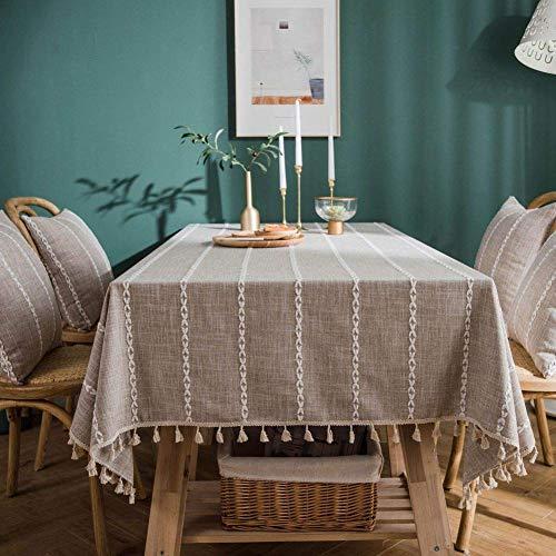 JLYZB Borduurwerk Streep Tassel Tafelkleed, Rechthoek Tafelkleed Voor Tafelblad Keuken Eetkamer Restaurant Party Decoratio Tafelkleed grijs 140x180cm (55x71inch)
