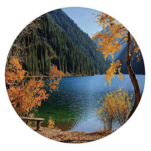 LCGGDB Tree 3D Decorative Window Film,Autumn Season by Lake and Mountain Nature Theme Fall Trees in The Wilderness Frosted Window Glass Film for Home Office,Round 32'x32',Orange Green