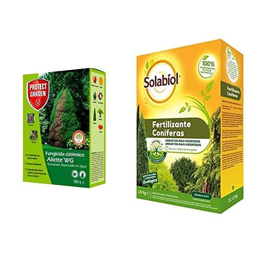 PROTECT GARDEN Fungicida Sistémico Aliette Wg, Ideal para Cesped, Coníferas Y Cítricos + Fertilizante para Coníferas Y...