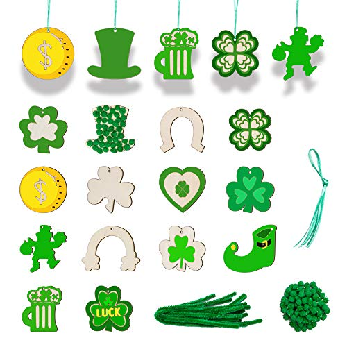 180 Pieces St. Patrick's Day Unfinished Wooden Ornaments, Aweyka 14 Styles Wood Embellishments Hanging Ornaments Wooden Slice with Pompoms and Pipe Cleaners for DIY Arts Crafts Decorations