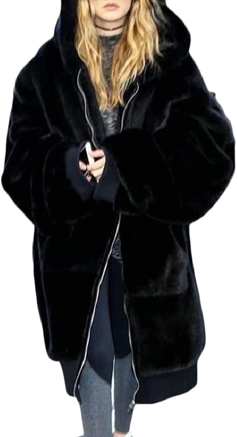 LKCENCA Women Fluffy Warm Winter Solid Faux Fur Coat Jacket Thick with Hooded