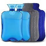 Botellas de Agua Caliente con Fundas Tejidas, Premium Rubber para calambres y alivio del dolor con 2...
