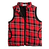GAZIAR Girls Buffalo Plaid Cotton Vest Puffer Lined Gilet Jacket for Toddler Girls Boys Kids Winter Coat