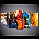 UYEDSR Pintura 5 Impresiones Piezas de Panel Guitarra de Instrumento Musical para la decoración Moderno Sala Decorativos