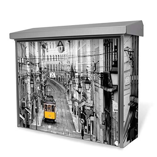 Burg-Wächter Edelstahl Briefkasten | Modell Inoxstar 4700 Ni 38,5 x 31,5 x 12cm | witterungsbeständig, mit Zylinderschloss, 2 Schlüssel, Montagematerial | Motiv Lissabon